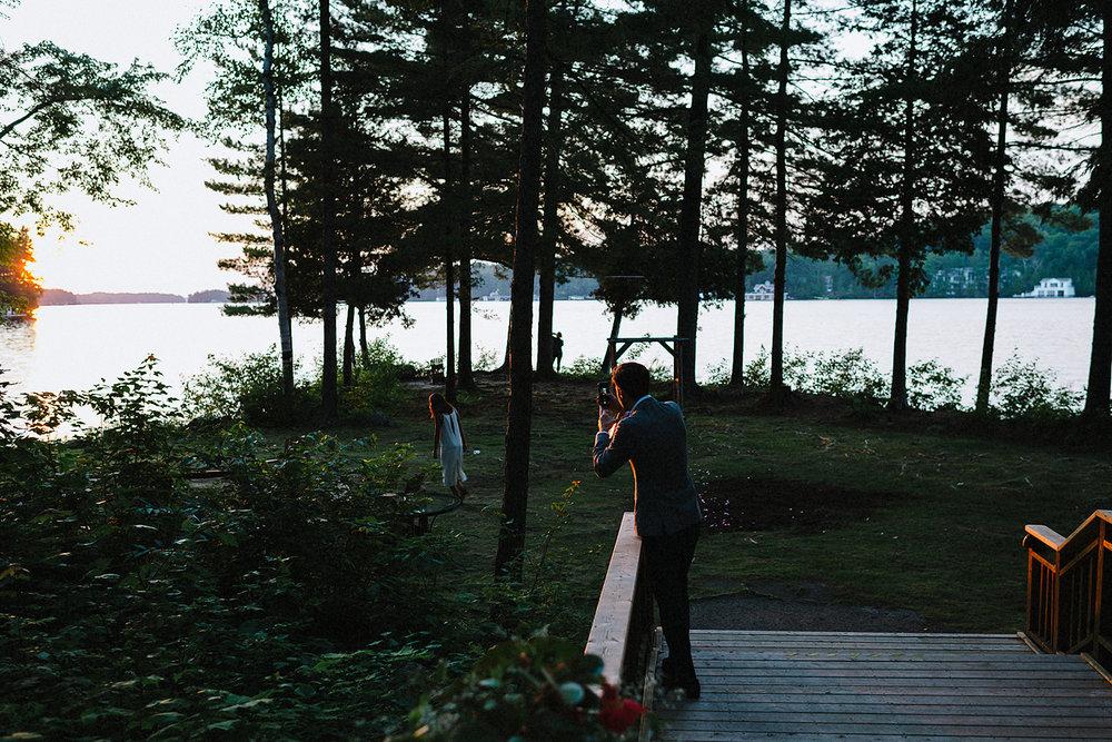 Muskoka-Cottage-Wedding-Photography-Photographer_Photojournalistic-Documentary-Wedding-Photography_Lakeside-Ceremony-Sunset-Light-guests.jpg