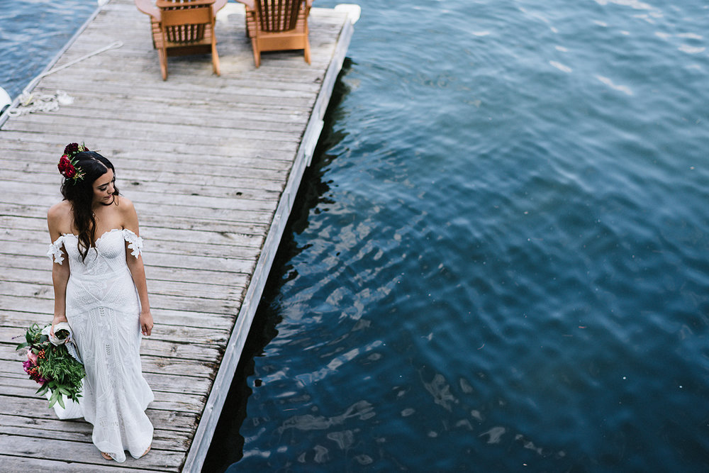 Muskoka-Cottage-Wedding-Photography-Photographer_Photojournalistic-Documentary-Wedding-Photography_Lakeside-Bride-Portrait-on-Lake-Dock.jpg