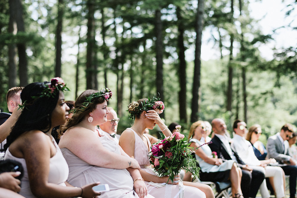 Muskoka-Cottage-Wedding-Photography-Photographer_Photojournalistic-Documentary-Wedding-Photography_Vintage-Bride-Forest-Wedding-Ceremony-Venue-Guests-Crying.jpg