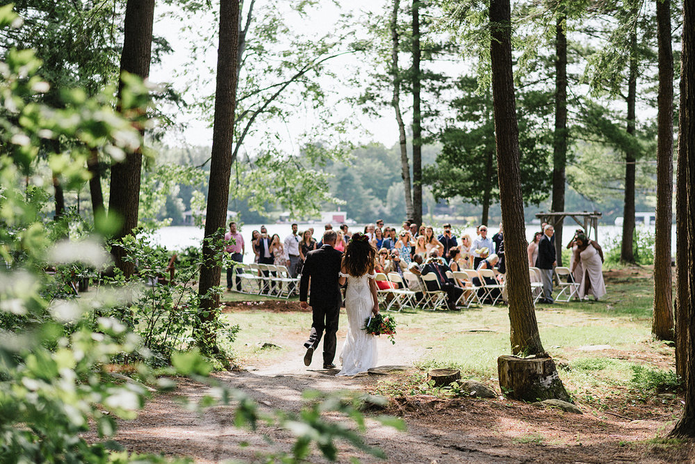 Muskoka-Cottage-Wedding-Photography-Photographer_Photojournalistic-Documentary-Wedding-Photography_Vintage-Bride-Forest-Wedding-Ceremony-Bride-Father-Entrance.jpg