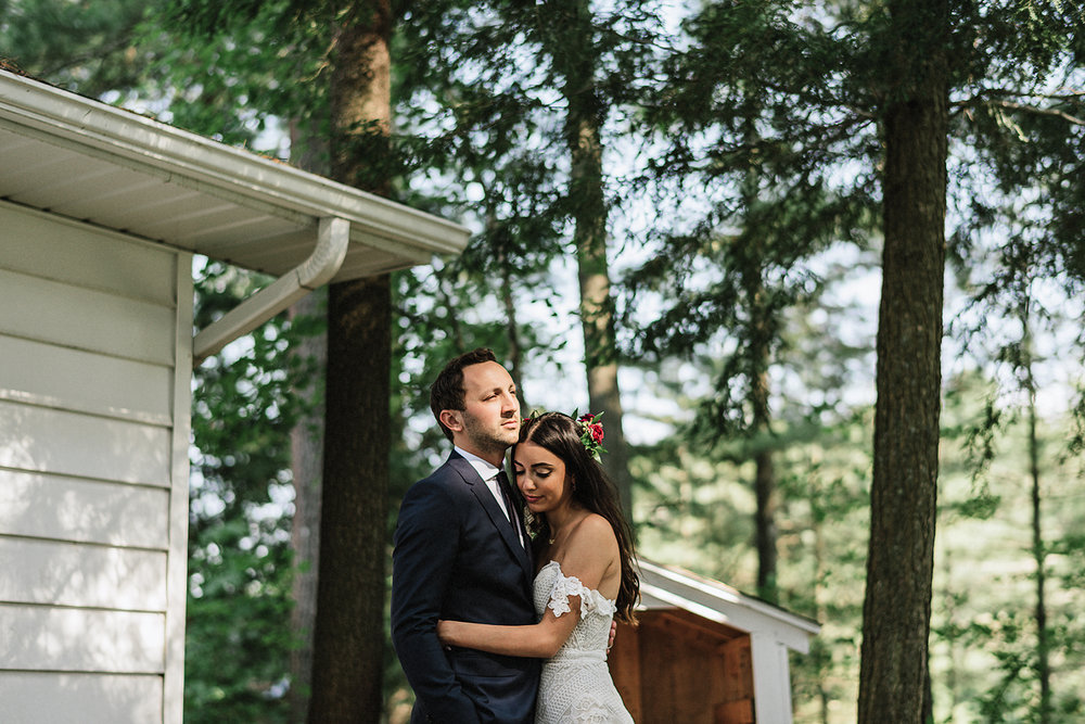 Muskoka-Cottage-Wedding-Photography-Photographer_Photojournalistic-Documentary-Wedding-Photography_Lakeside-Wedding-Romantic-Bridal-Portrait-with-Groom-Toronto-Bride-sunset-portrait.jpg
