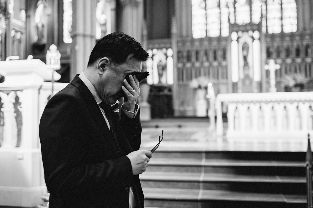 Best-Wedding-Photographers-Toronto_-Urban-City-Wedding-Photography-Downtown-Toronto-Photographer_Vintage-Bride-and-Groom-Details_The-Chase-Wedding-Venue_Candid-Photojournalistic-Documentary-Groom-in-Church-FOB-Crying.jpg