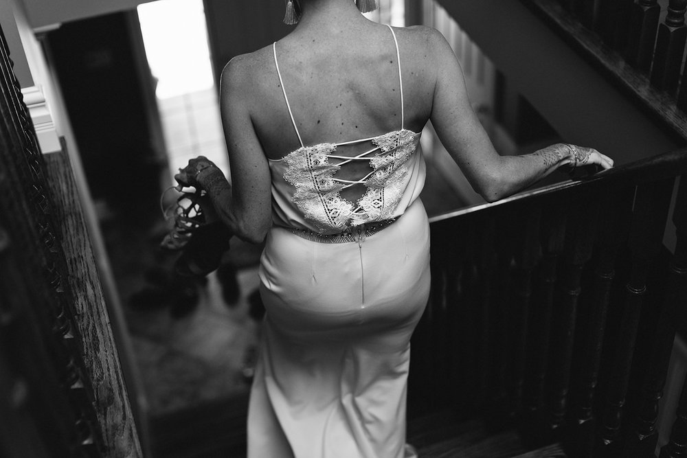 Mono-Cliffs-Inn-Wedding-Country-House-Farm-Ontario-Wedding-Photography-Vintage-Bride-and-Groom-Wedding-Inspo-Best-Toronto-Wedding-Photographer-Bride-Getting-Ready-childhood-home-documentary-candid-moments-walking-down-stairs.jpg