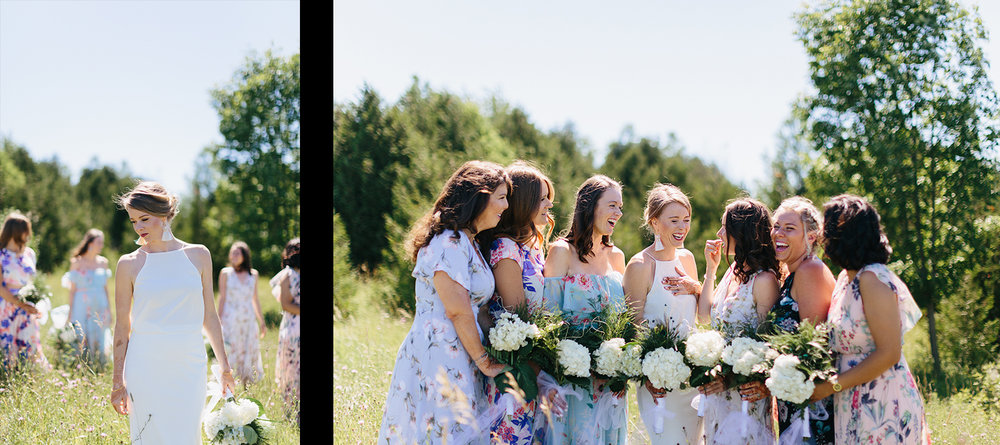 spread-2-Best-Documentary-photojournalistic-wedding-photographers-Toronto-Ontario-Canada-Rural-Country-House-Backyard-Wedding-bride-and-bridesmaids-in-florals-dresses-cool-trendy-llaughing-good-moment.jpg