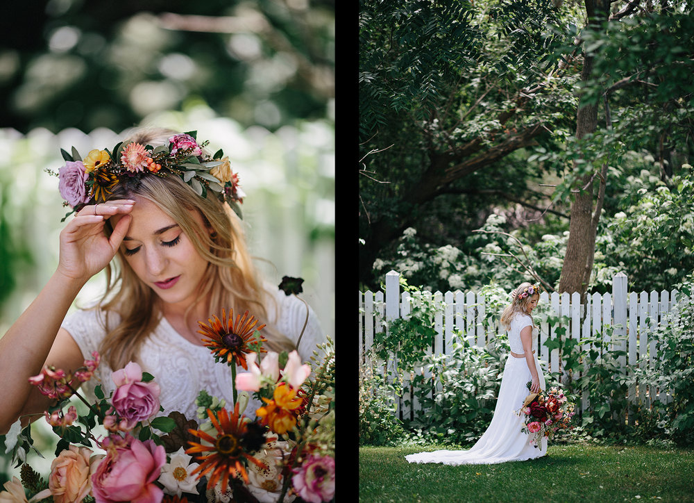 spread11-3b-photography-kleinberg-the-doctors-house-hipster-cool-badass-hunt-and-gather-bouquet-romantic-bridal-portrait-flower-crown-gorgeous-bridal-bo-and-luca-gown-two-piece-junebug-weddings-inspiration-green-wedding-shoes-stunning.jpg