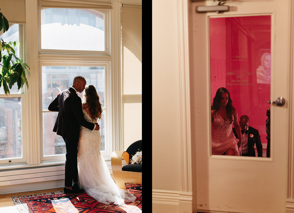 spread-20-Gladstone-Hotel-Bridal-Suite-Vintage-Toronto-Bride-City-Urban-Wedding-Interracial-Couple-Vintage-Aesthetic-groom-and-bridal-portrait-in-pink-stairwell.jpg