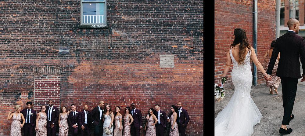 spread-21-Gladstone-Hotel-Bridal-Suite-Vintage-Toronto-Bride-City-Urban-Wedding-Interracial-Couple-Vintage-Aesthetic-couples-portraits-with-bridal-party-brick-wall-old-toronto.jpg