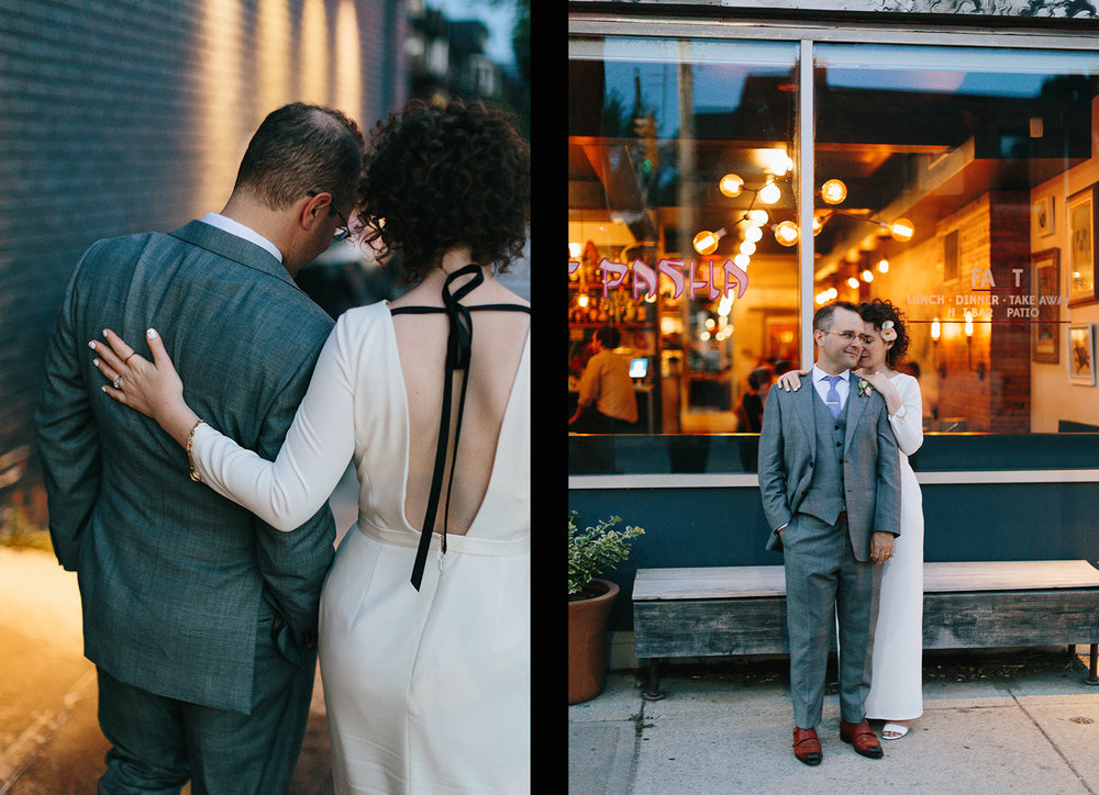 9-urban-downtown-toronto-wedding-fat-pasha-torontos-best-wedding-photographer-3b-photography-film-photographer-analog-photography-outdoor-patio-cocktail-hour-gold-hour-sunset-bride-and-groom-in-front-of-restaurant.jpg