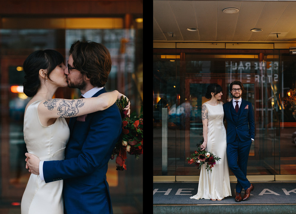 12-photojournalistic-bride-and-groom-portraits-by-window-in-boutique-hotel-vintage-elopement-inspiration-bouquet-by-timberlost-Toronto-Elopement-at-the-Drake-Hotel-Torontos-Best-elopement-photographers-candid-documentary.jpg