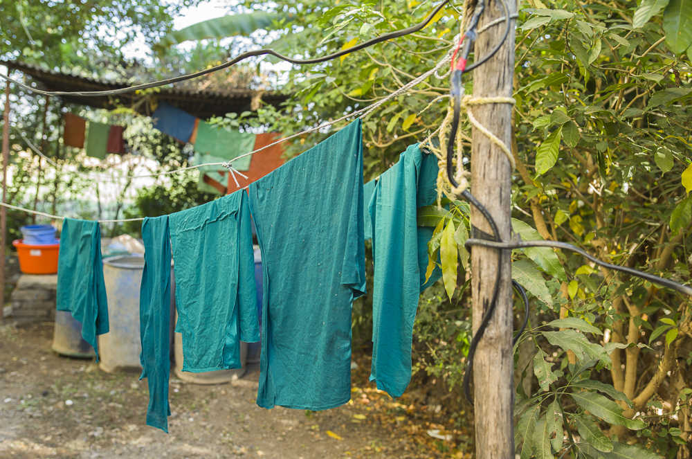 Scrubs drying outside in the fresh morning air.