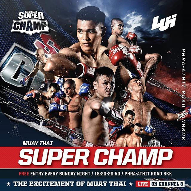 MUAY THAI SUPER CHAMP - Be here to witness The Excitement of Muay Thai and win a Tshirt give away at Muay Thai Street, Phra-Athit road Bangkok TH.  Every Sunday night starting from 18:20 to 20:50 (Free Entry) or watch it LIVE on Channel 8  #muaythaisuperchamp #superchamp #muaythai #kickboxing #fightnight #knockout #kaosan #phraathitroad #bangkok #bangkoknightlife #sundaynight
