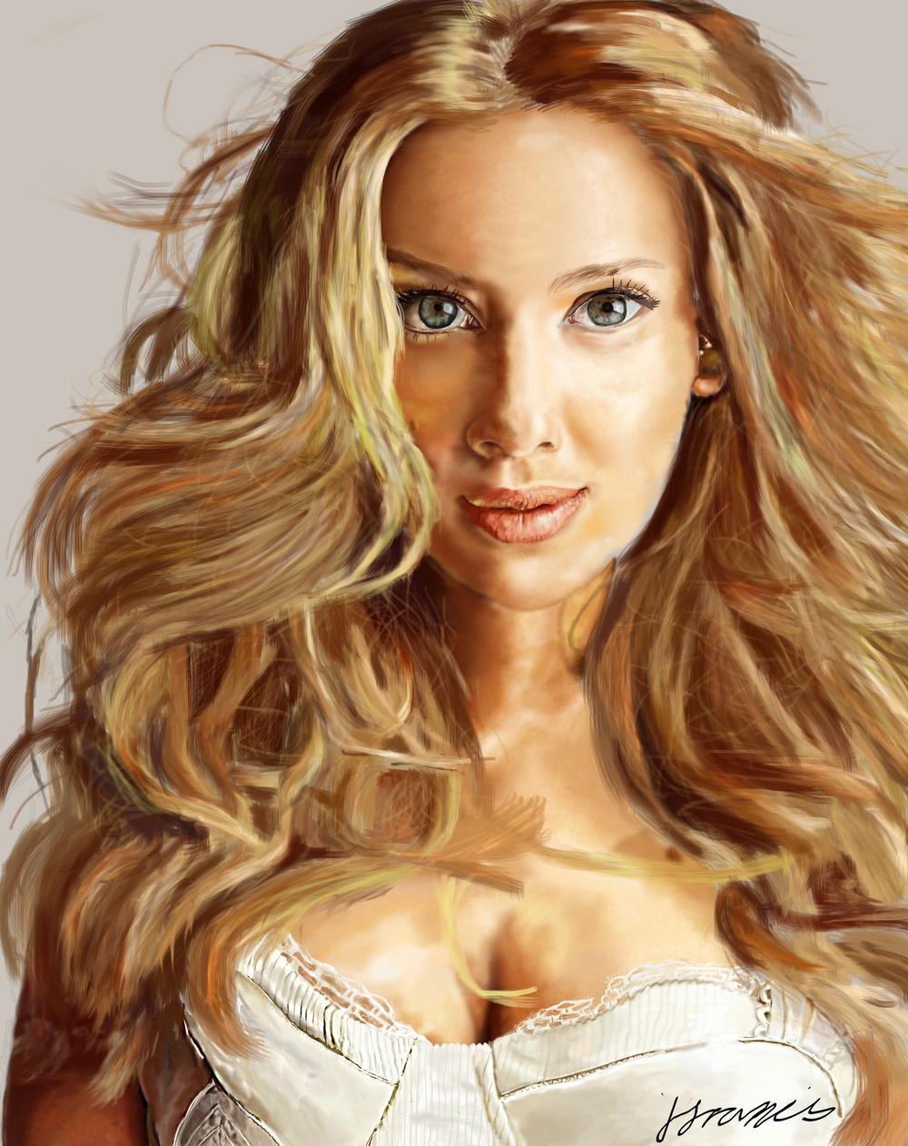 Digital painting of Scarlett Johansson done in photoshop.