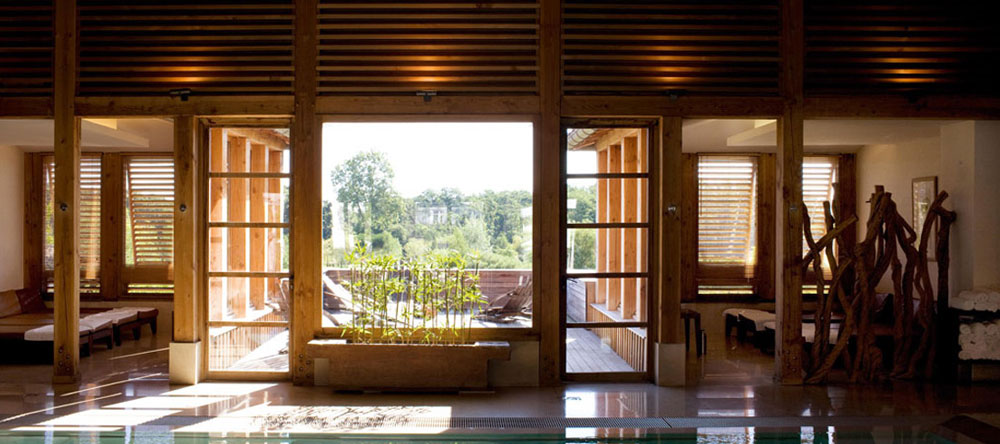The spa is made from recycled local timber, as is the entire bucolic hotel