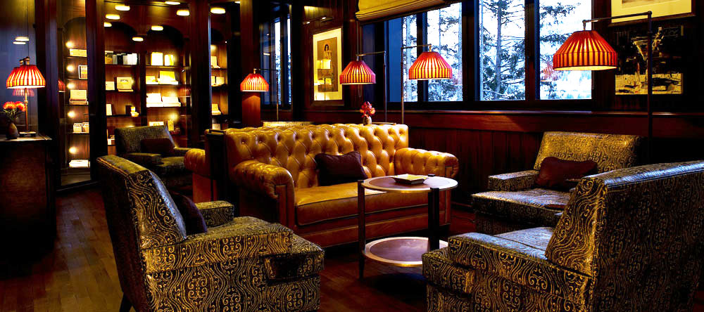 Cigar lounge at the Alpina Gstaad hotel