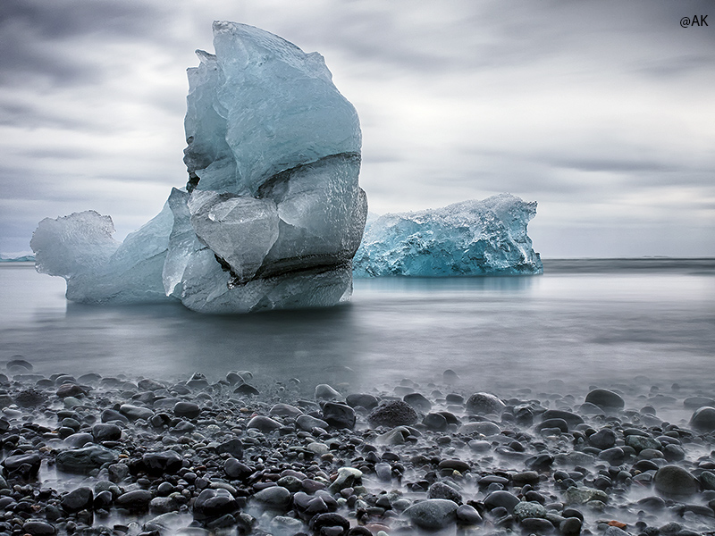 Ice on the beach of Jokulsarlon