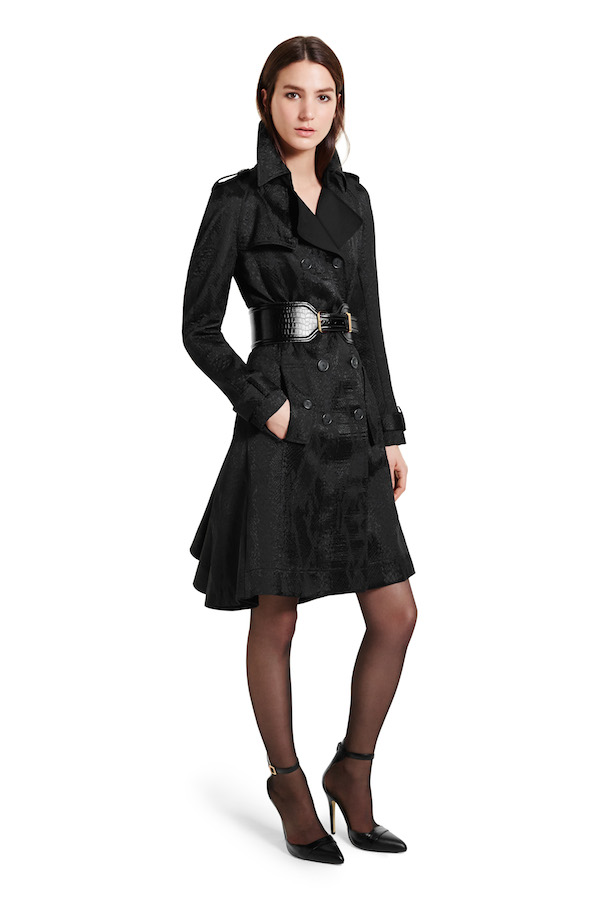 Trench Coat in Black Jacquard, $90