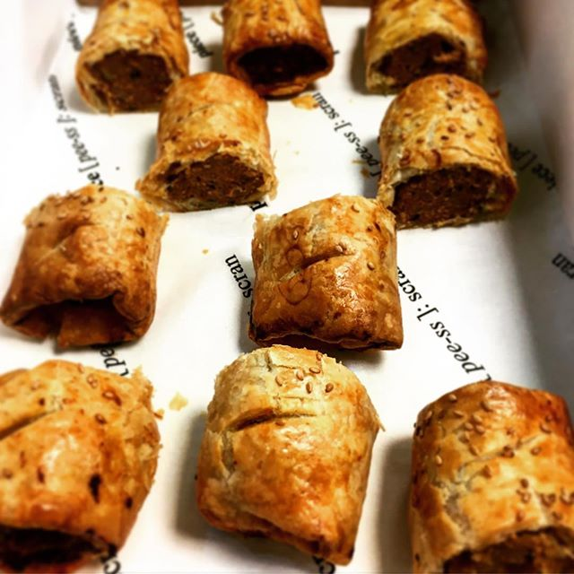 Want a roll with it? Our delicious homemade sausage rolls fresh out the oven - Italian style pork with fennel and garlic #officelunch #lunch #pieceglasgow #piececatering #catering #lunch #glasgow