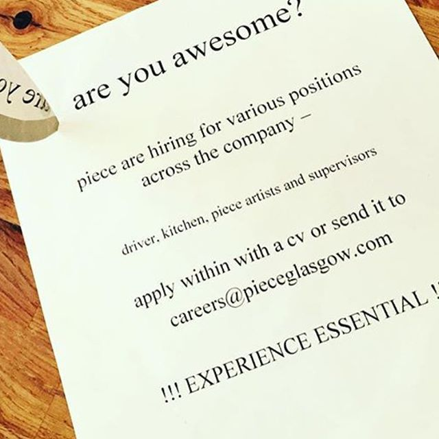 We need you! Want a challenge? Got catering experience? Got a driving licence and managed to keep it clean? Fire us your CV and a cover letter then! #jobsforthegirls #jobsfortheboys #jobsforall #piece #pieceglasgow