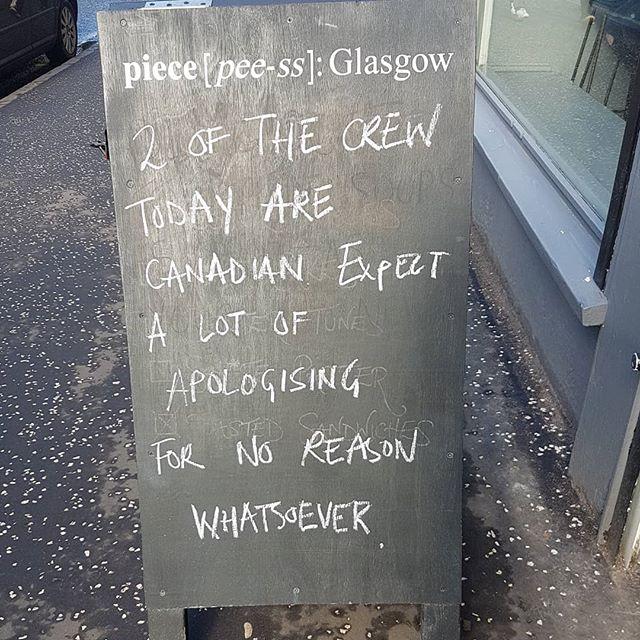 Sorry, I'm sorry. What sorry? OK yeah sorry. #pieceglasgow #piecefinnieston #finnieston #glasgow #imsorry