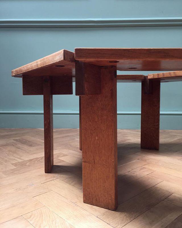An oak constructivist hexagonal coffee table, mid century and most probably Scandinavian #newstock