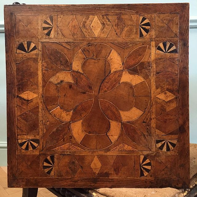Charming naive inlaid table with pear inspired central motif #newstock