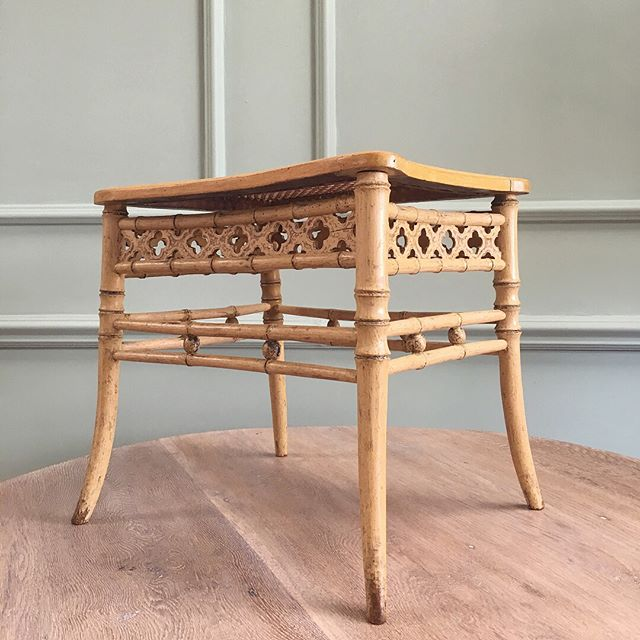 Regency faux bamboo stool scraped back to the original paint, with caned top #newstock