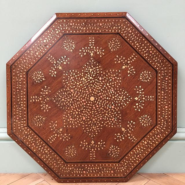 "British interiors, Indian summers - large 24"" Hoshiarpur brass table #newstock"