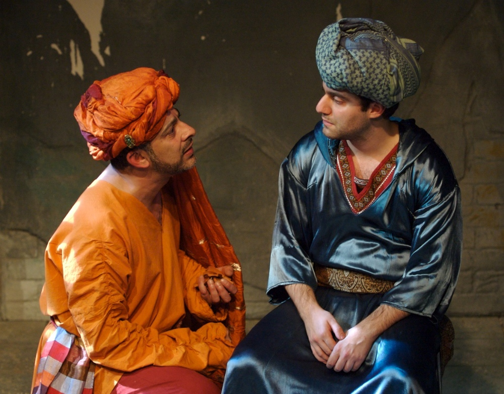 Emilio Doorgasing as Hassan Sabbah and Sargon Yelda as Omar Khayyam in  Salt Meets Wound . Photo by Jack Ladenburg.