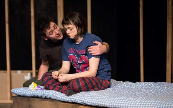 Benjamin Blyth as Linus and Jennifer Tan as Marnie in  In Doggerland.  Photo by Devin Ainslie.