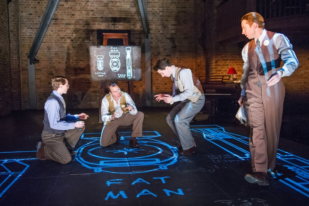 Joel MacCormack as Klaus Fuchs, Ross Armstrong as Richard Feynman, Josh O'Connor as Luis Alvarez and Tom McCall as Hans Bethe. Photograph by Tristram Kenton for the Guardian.