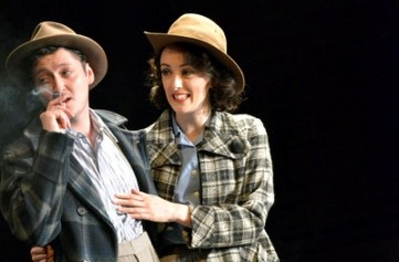Michael Grady-Hall as Frank Oppenheimer and Hedydd Dylan as Jackie Oppenheimer in   Oppenheimer  . Photo by Keith Pattison.