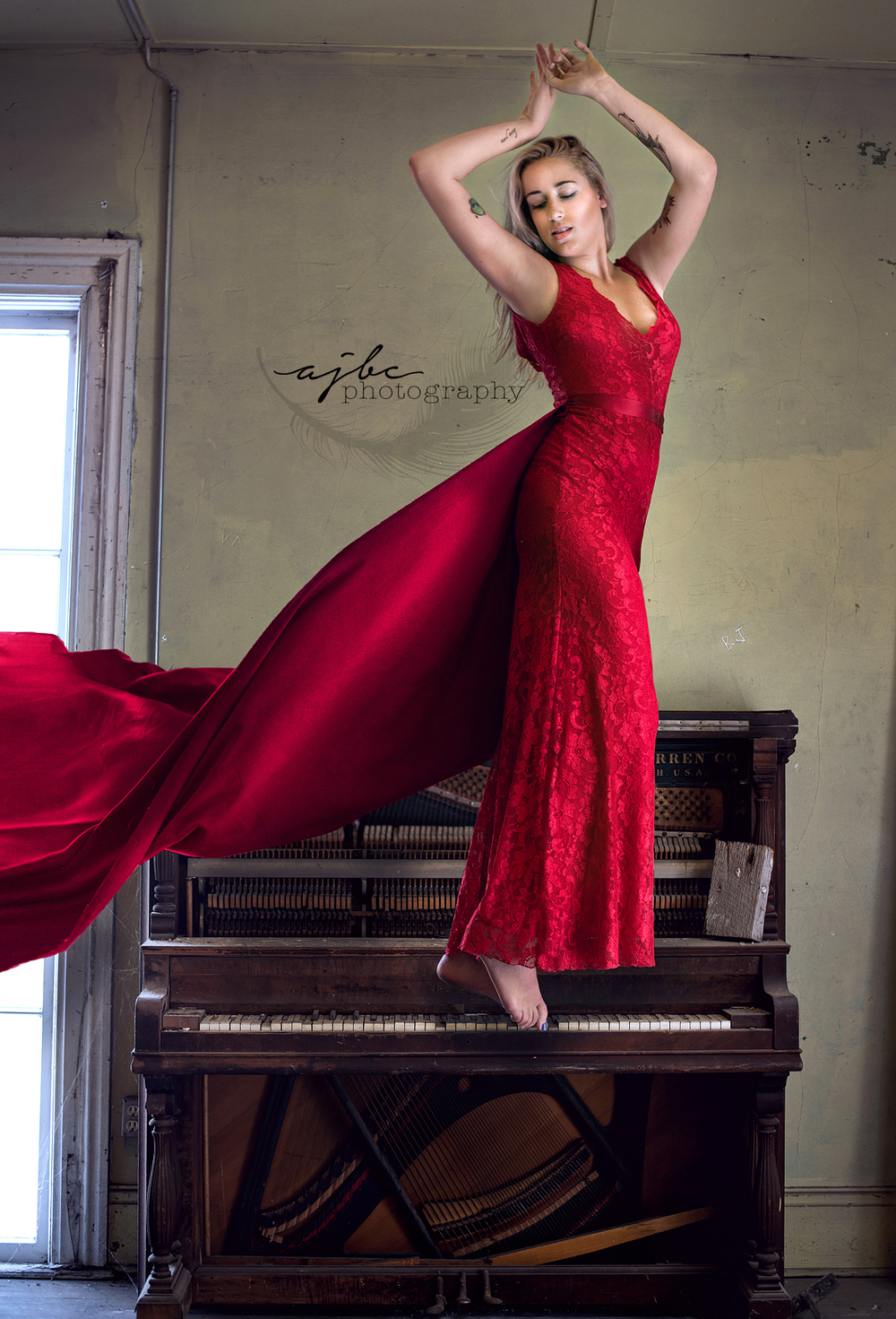 118 Piano Dancing Woman Red Dress Beauty Port Huron Michigan.jpg