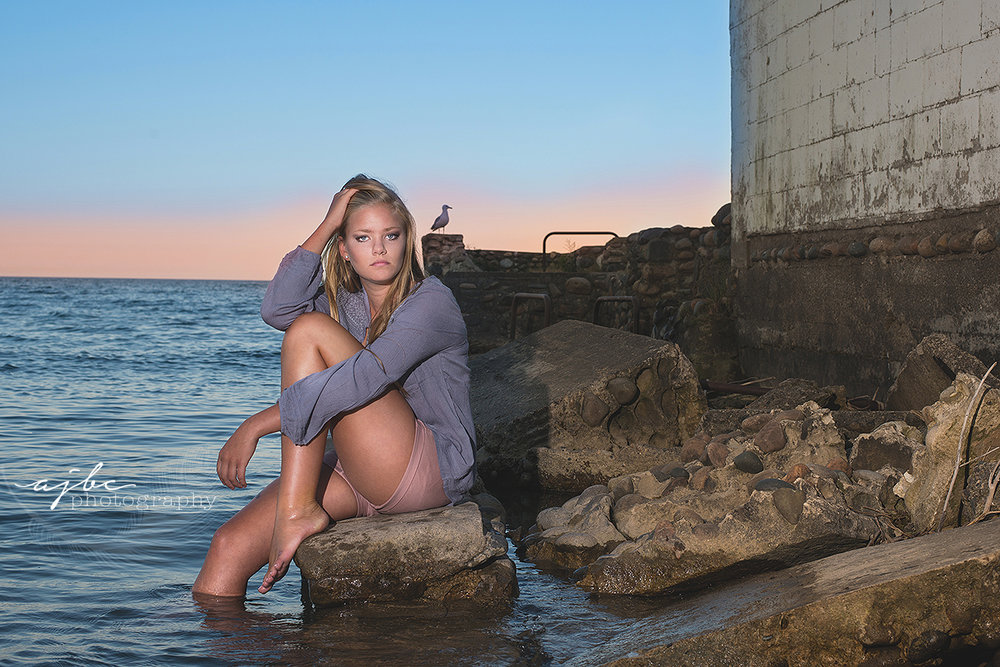 outdoor beauty senior photo in the water lexington michigan photographer.jpg