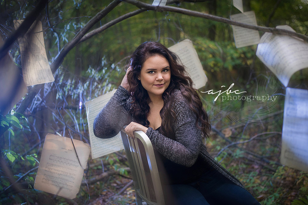 L'Anse Creuse High School senior photographer whimsical photoshoot senior shoot with sheet music musician photographer fall photoshoot artist senior shoot.jpg