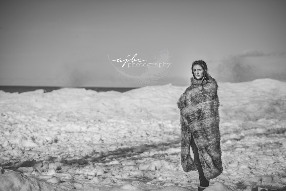michigan winter photoshoot lake huron frozen shorelines photography ice bergs winter beauty model .jpg