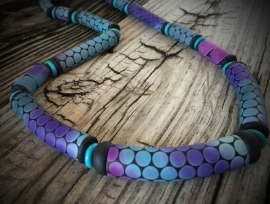 Click on this beautiful necklace to read the whole article on how I use PanPastels to create these stunning effects on   my jewelry!