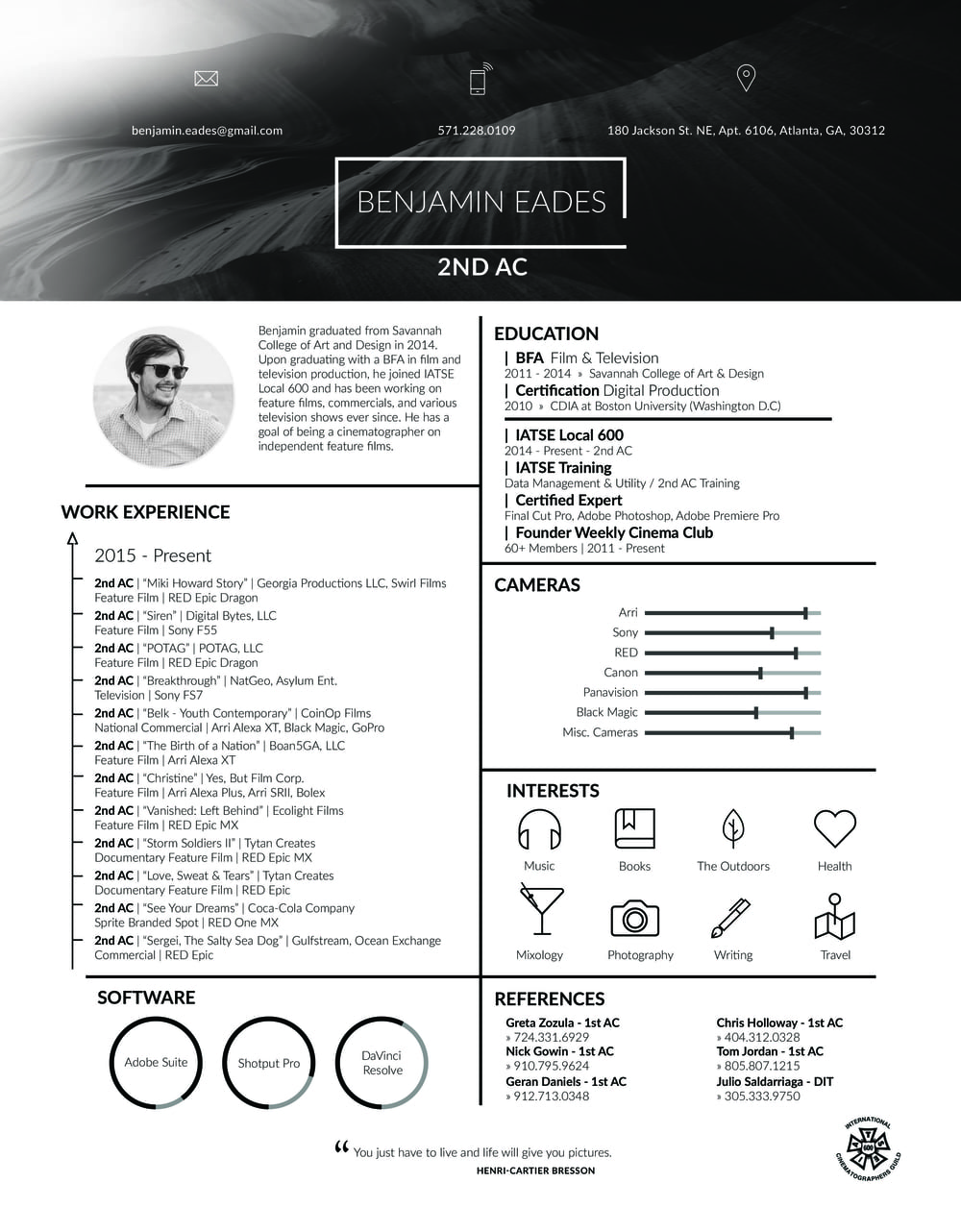 cinematographer resume