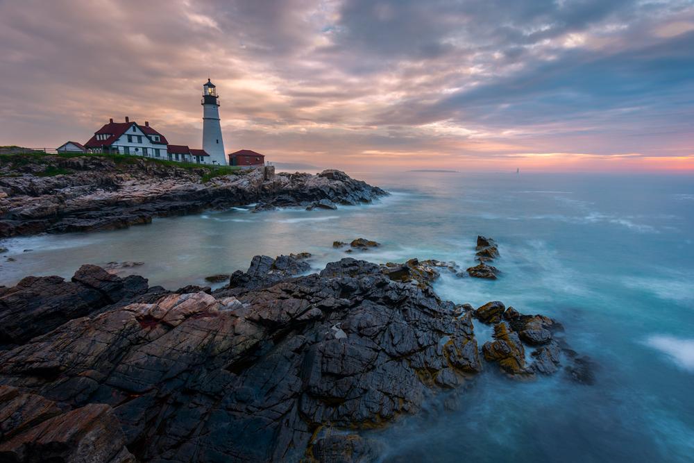 Soft Twilight on Cape Elizabeth with Portland Head Light, Maine