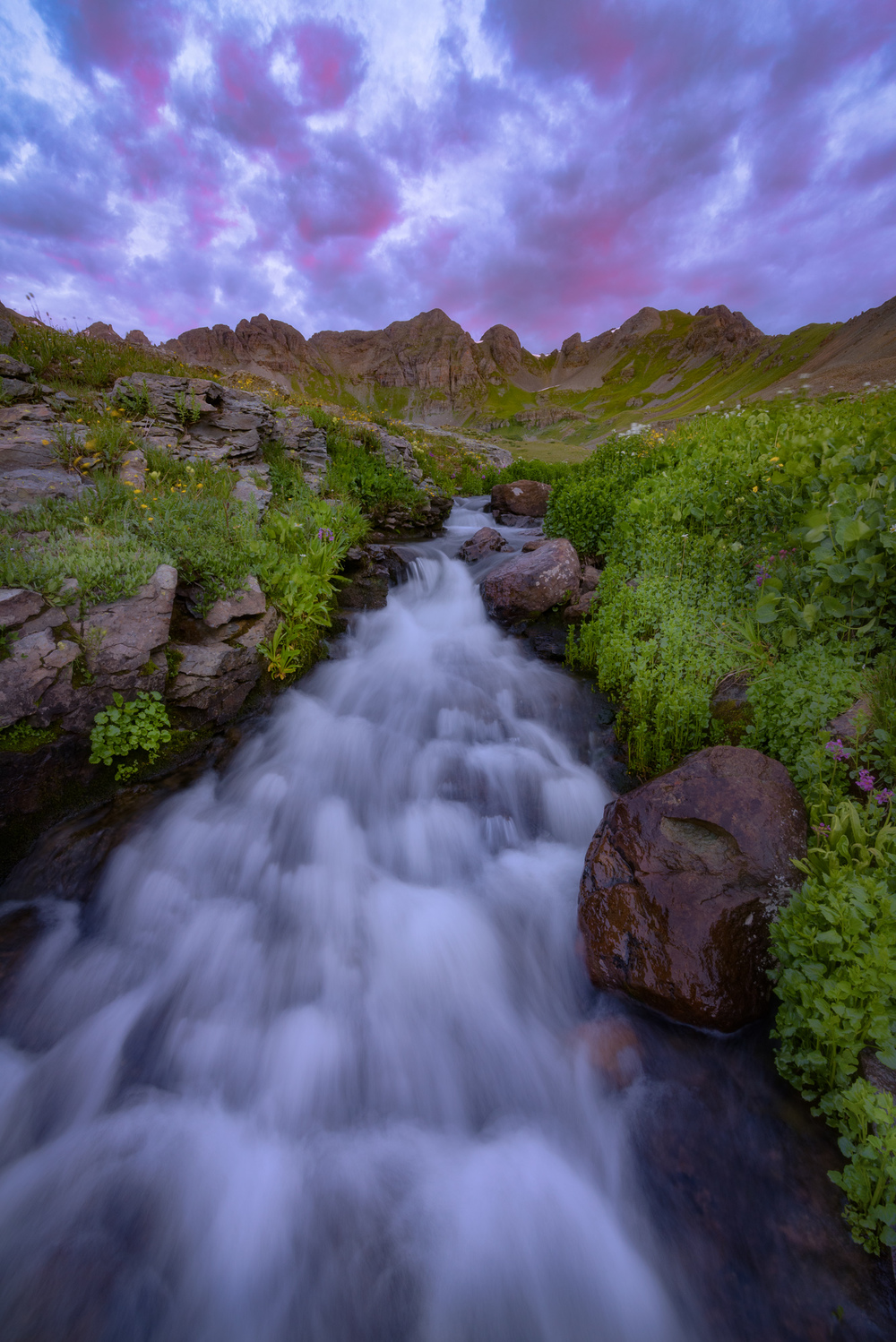 Waterfall at first light, Clear Lake Basin