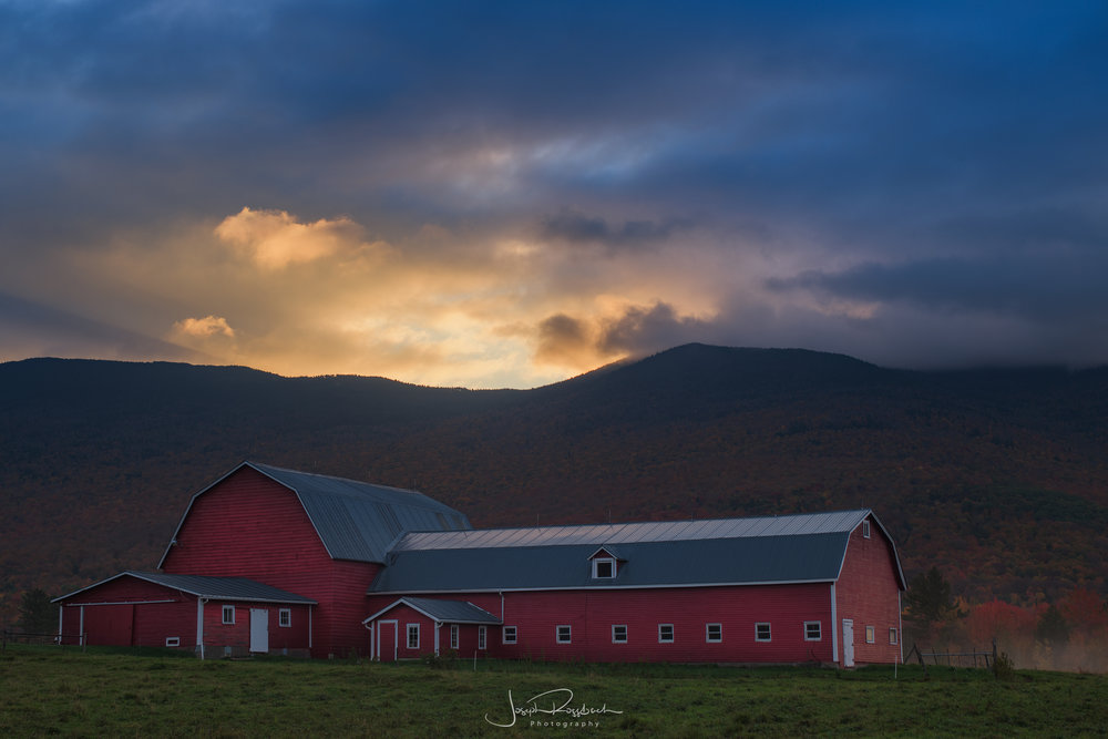 Red Barn at First Light, Northern Vermont  Nikon D850, Nikkor 35-70, Really Right Stuff Tripod