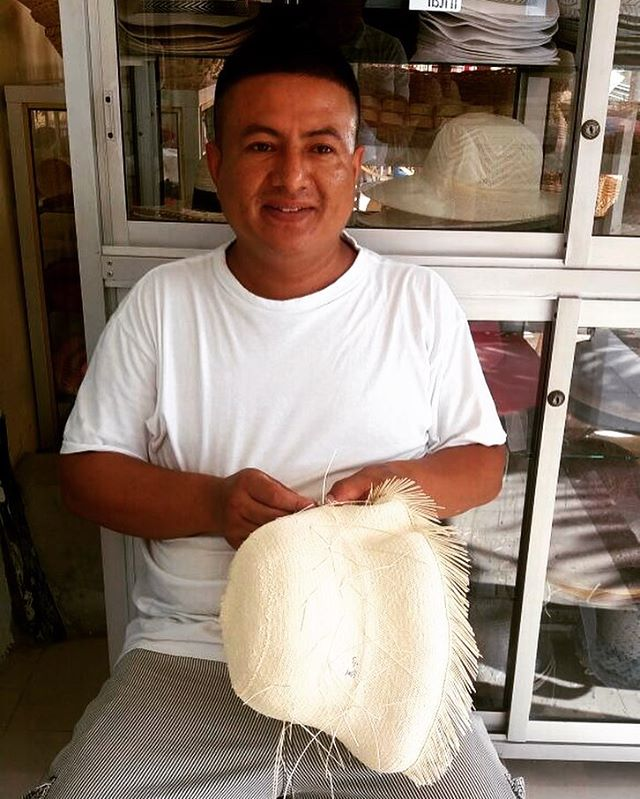 Meet Mauro: He specializes in shaping and finishing #PanamaHats. He's been working in this trade for more than 15 years and his grandparents also worked as Panama Hat artisans. Mauro's fave food is turkey and he likes to go to the beach!