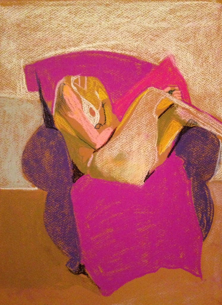 Headless Nude (White/Purple/Pink), 2014, pastel on paper, 16 x 12in.