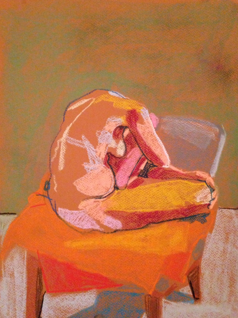 Headless Nude (Green/Orange), 2014, pastel on paper, 16 x 12in