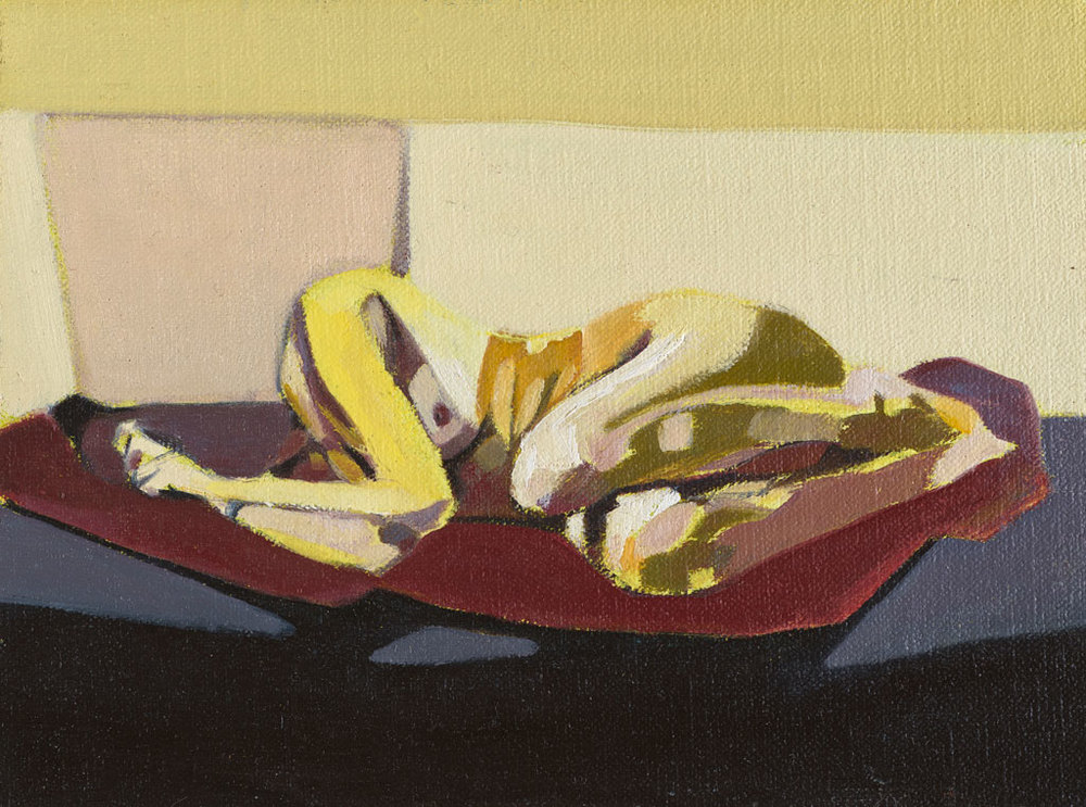 Headless Nude (Lying, Pale Yellow/Grey), 2014, oil on linen on board, 6 x 8in.
