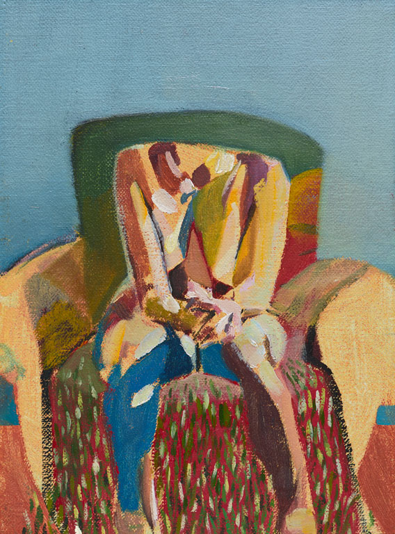 Headless Nude (Seated, Pale Blue/Dappled), 2014, oil on linen on board, 8 x 6in.