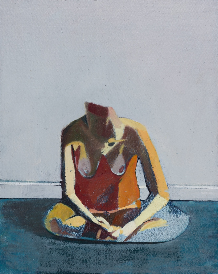 Headless Nude (Sitting, Pale Blue/ Blue), 2014-15, oil on linen on board, 10 x 8in.