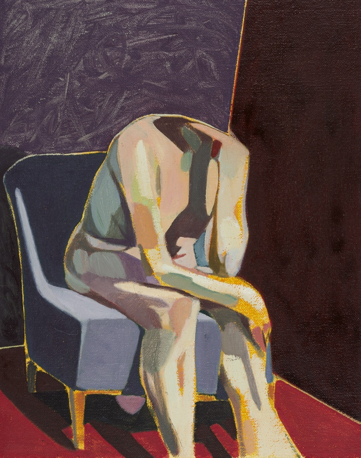 Headless Nude (Seated, Purple/Maroon/Red), 2015, oil on linen on board, 10 x 8in