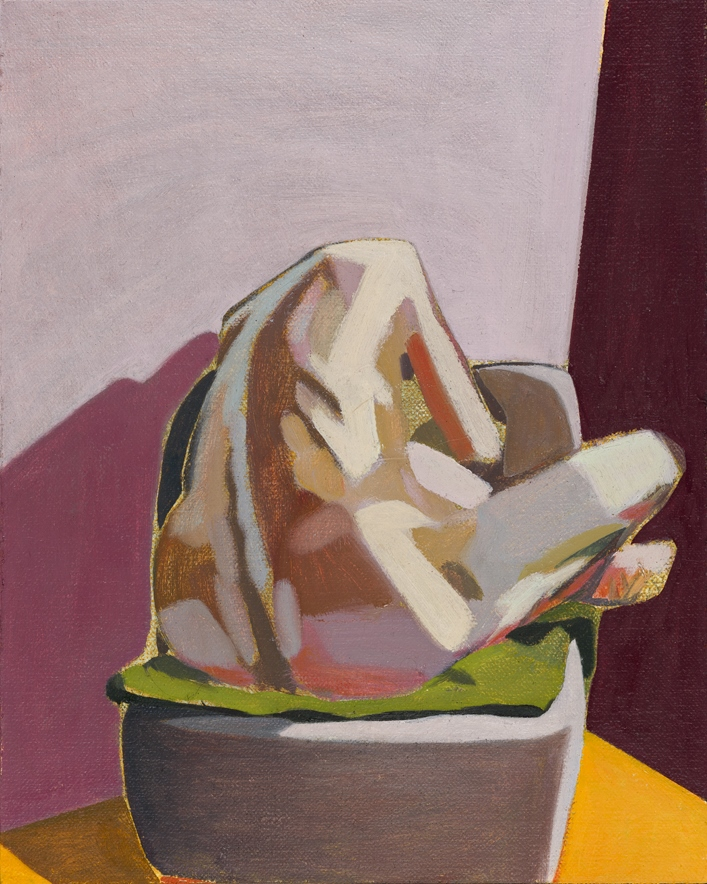Headless Nude (Seated, Pink/ Purple/Yellow), 2015, oil on linen on board, 10 x 8in