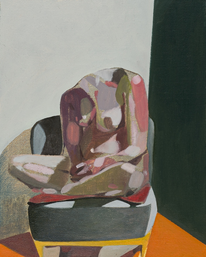 Headless Nude (Seated, Grey/Green/Orange), 2015, oil on linen on board, 10 x 8in