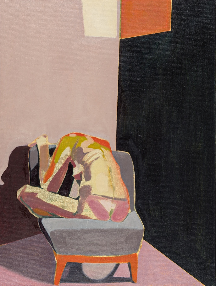 Headless Nude (Seated, Pink/Dark Blue, Orange Light), 2015, oil on linen on board, 16 x 12in